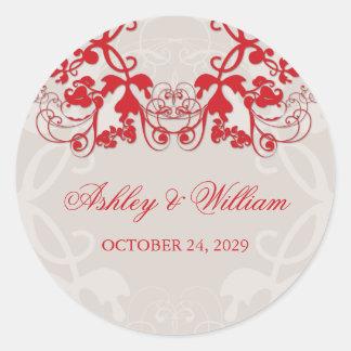 fatfatin Floral Flourish Red Wedding Sticker Round Sticker
