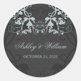 fatfatin Floral Flourish Secret Wedding Sticker Round Sticker