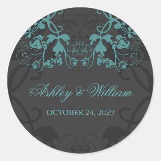fatfatin Floral Flourish Teal Wedding Sticker