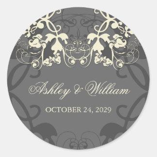 fatfatin Floral Flourish White Wedding Sticker Sticker