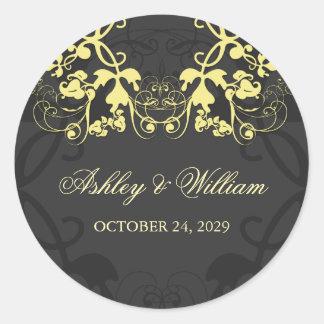 fatfatin Floral Flourish Yellow Wedding Sticker