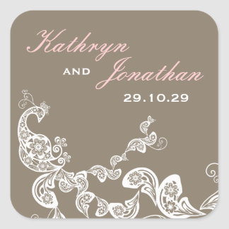 fatfatin Floral White Peacock Wedding Sticker