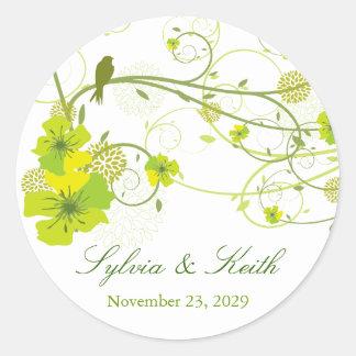 fatfatin Green Hibiscus Swirls & Swallows Wedding Round Sticker
