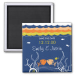 fatfatin Kissing Fish Coral Waves 2 Save The Date Magnets