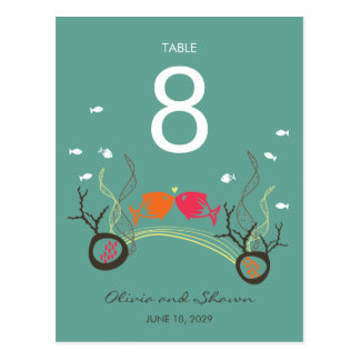fatfatin Kissing Fishes Coral Sea Table Number Car Postcards