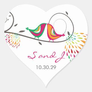 fatfatin Kissing Summer Birds Wedding Stickers Heart Sticker