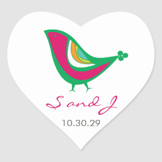 fatfatin Kissing Summer Birds Wedding Stickers