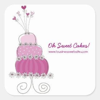 fatfatin Magenta Wedding Cake Business Sticker