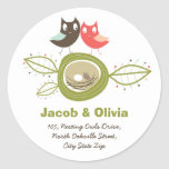 fatfatin Nesting Owl Family Custom Address Sticker