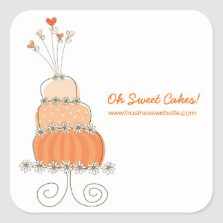 fatfatin Peach Wedding Cake Business Sticker