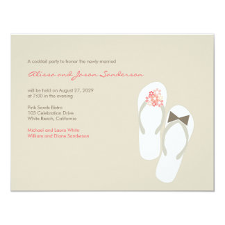 fatfatin Pink Flip Flops Wedding Party Invitation