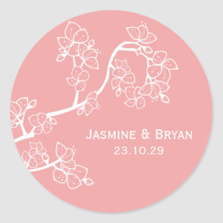 fatfatin Pink Peach Blossoms Custom Wedding Sticke Round Sticker