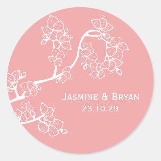 fatfatin Pink Peach Blossoms Custom Wedding Sticke Round Sticker
