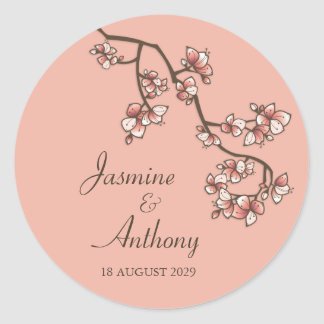 fatfatin Pink Peach Blossoms Wedding Sticker