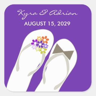 fatfatin Purple Beach Flip Flops Wedding Stickers Square Sticker