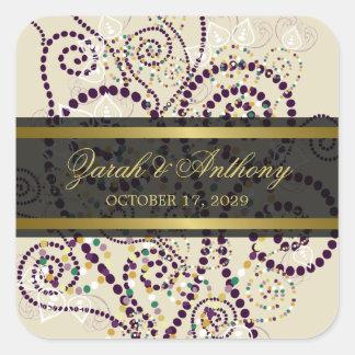 fatfatin Purple Boho Spirals Wedding Stickers