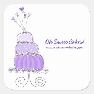 fatfatin Purple Wedding Cake Business Sticker