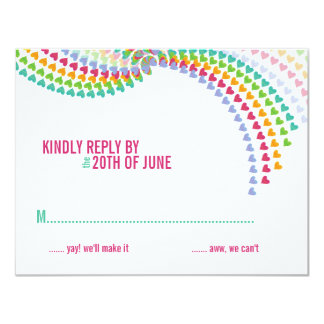 fatfatin Rainbow Heart Sprinkles RSVP Card 11 Cm X 14 Cm Invitation Card