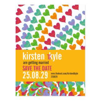 fatfatin Rainbow Heart Sprinkles Save The Date Postcard