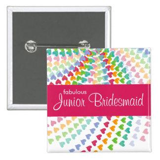 fatfatin Rainbow Heart Sprinkles Wedding Name Tag 15 Cm Square Badge