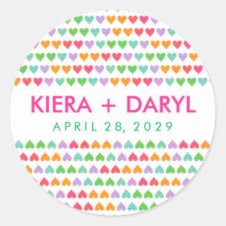 fatfatin Rainbow Love Hearts Wedding Sticker