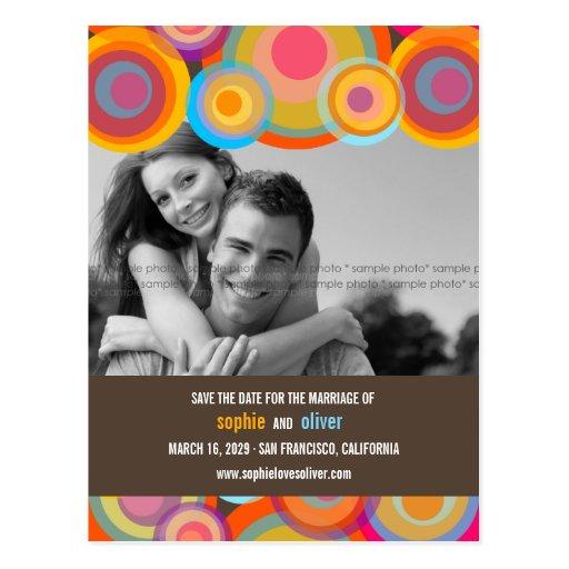 fatfatin Rainbow Pop Circles Save The Date Photo Postcards