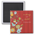 fatfatin Red Floral Garden Save The Date Magnet