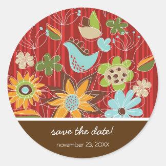 fatfatin Red Floral Garden Wedding Sticker