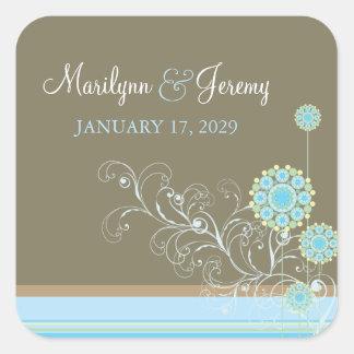 fatfatin Snow Flower Swirls Blue Wedding Sticker Square Sticker