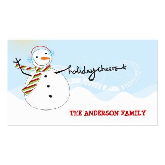 fatfatin Snowman Cheers Holiday Gift Tag Business Cards