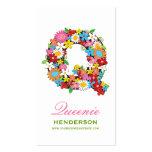 "fatfatin Spring Flowers ""Q"" Monogram Profile Card Business Card Templates"