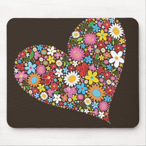 fatfatin Spring Flowers Valentine Heart Mousepad