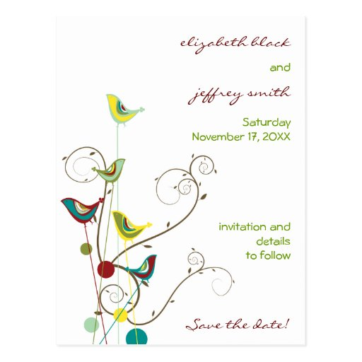 fatfatin Summer Birds And Swirls Save The Date Post Cards