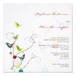 fatfatin Summer Birds And Swirls Wedding Invite 13 Cm X 13 Cm Square Invitation Card