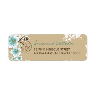 fatfatin Tropical Hibiscus Blue Custom Wedding Lab Return Address Label