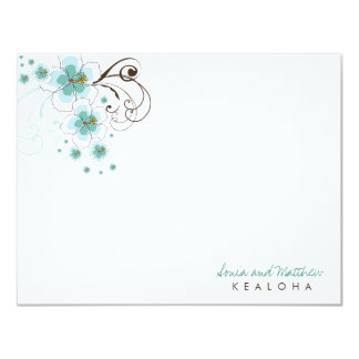 fatfatin Tropical Hibiscus Blue (R) Thank You Card Invitation
