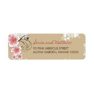 fatfatin Tropical Hibiscus Pink Custom Wedding Lab Return Address Label