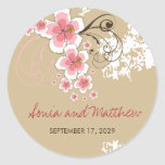fatfatin Tropical Hibiscus Pink Wedding Favour Round Stickers