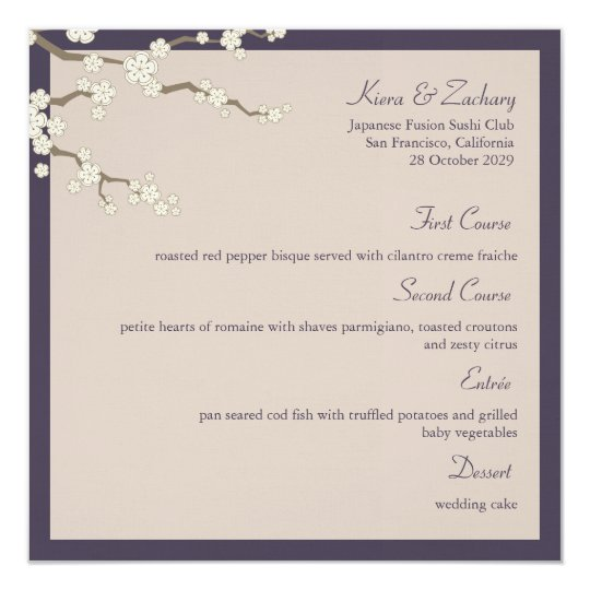 fatfatin White Sakura Cherry Blossom Menu Card 13 Cm X 13 Cm Square Invitation Card
