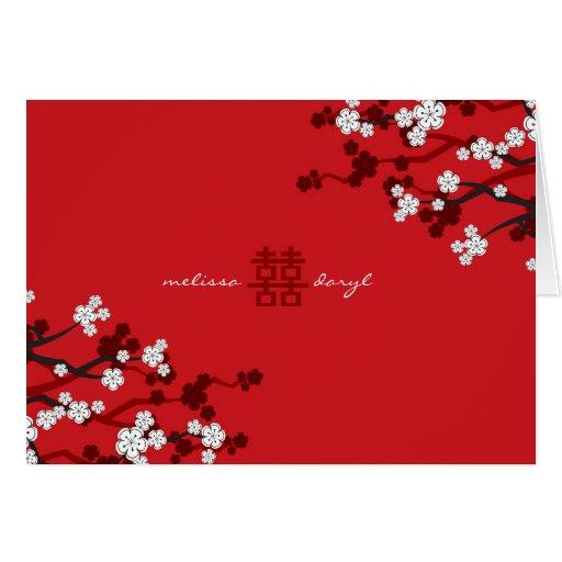fatfatin White Sakuras Chinese Wedding Invitation Greeting Card