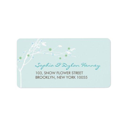 fatfatin Winter Branch Snow Flower Wedding Label Address Label