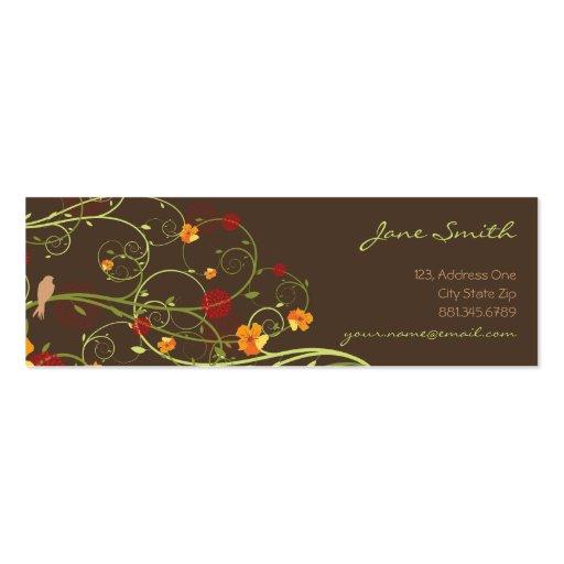 fatfatin Yellow Hibiscus Swirls Swallows Profile Business Cards