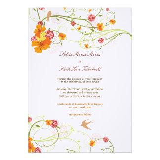 fatfatin Yellow Hibiscus Swirls Swallows Wedding Custom Invite