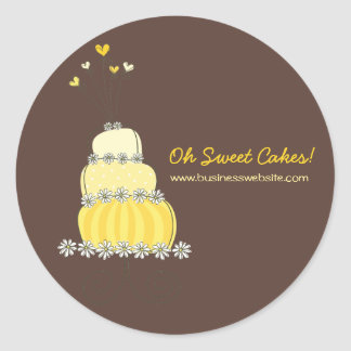 fatfatin Yellow Wedding Cake Business Sticker