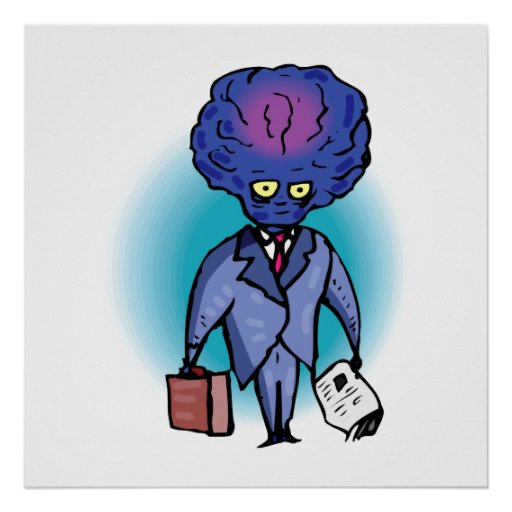 Father Alien with Briefcase & Paper Print