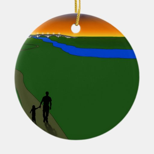 Father And Child Evening Walk Christmas Tree Ornament