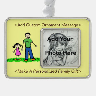 Father and Daughter Family Cute Custom Ornament Silver Plated Framed Ornament