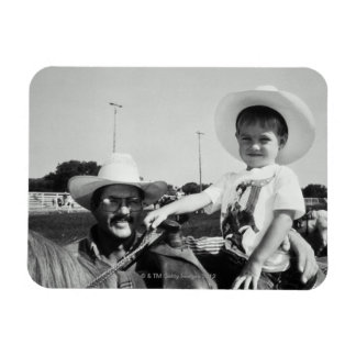 Father and son (2-4) at rodeo (B&W) Rectangle Magnet