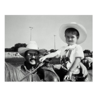 Father and son (2-4) at rodeo (B&W) Postcard