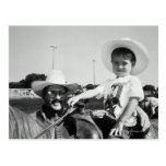 Father and son (2-4) at rodeo (B&W) Postcards